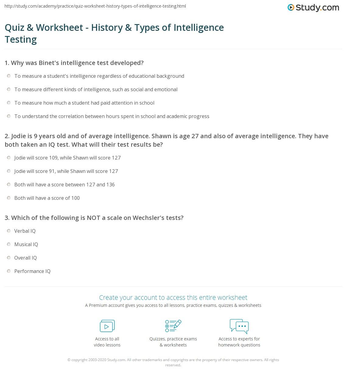 Quiz & Worksheet - History & Types of Intelligence Testing