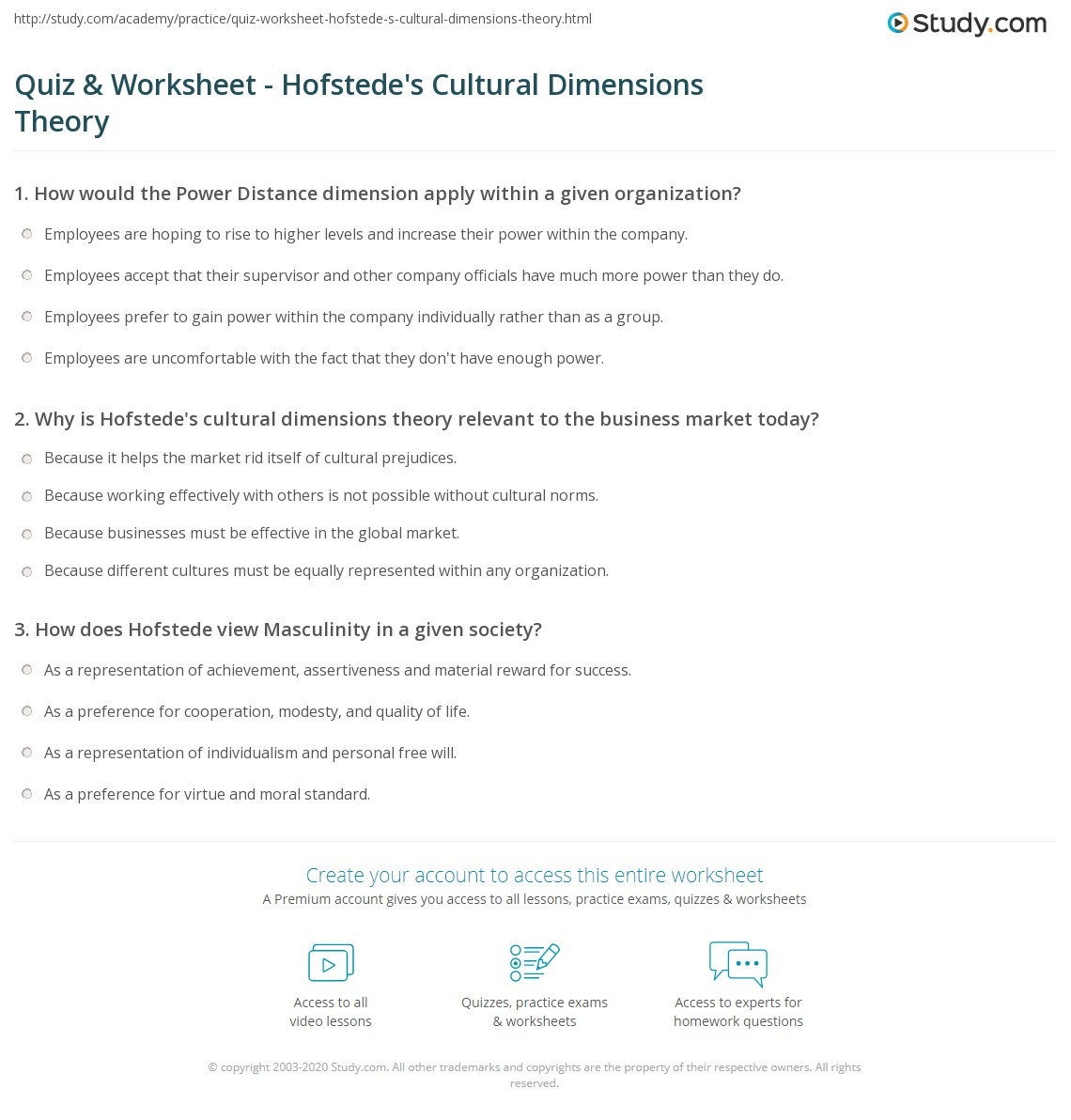 hofstede questionnaire Gerard hendrik (geert) hofstede (born 2 october 1928) is a dutch social  psychologist, former  at imede, he administered a selection of ibm  questionnaire items to his course participants, who were international managers  from over 30.