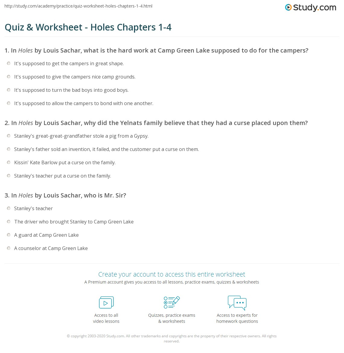 worksheet Holes Worksheets quiz worksheet holes chapters 1 4 study com print summaries worksheet