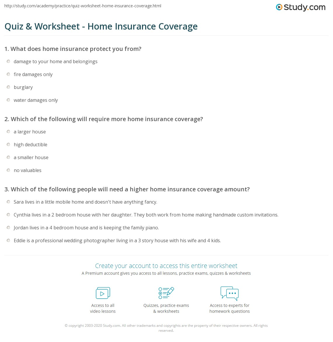 Quiz Worksheet Home Insurance Coverage