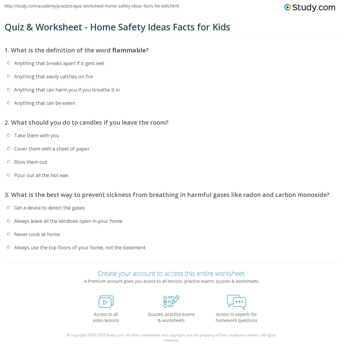 quiz worksheet home safety ideas facts for kids. Black Bedroom Furniture Sets. Home Design Ideas
