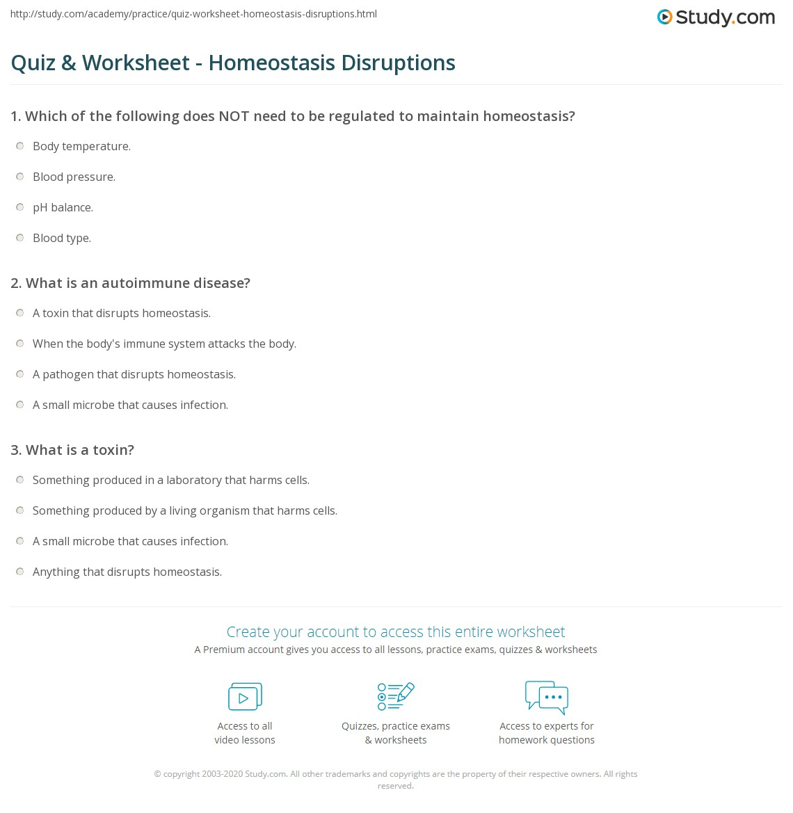 Quiz Worksheet Homeostasis Disruptions Study Com