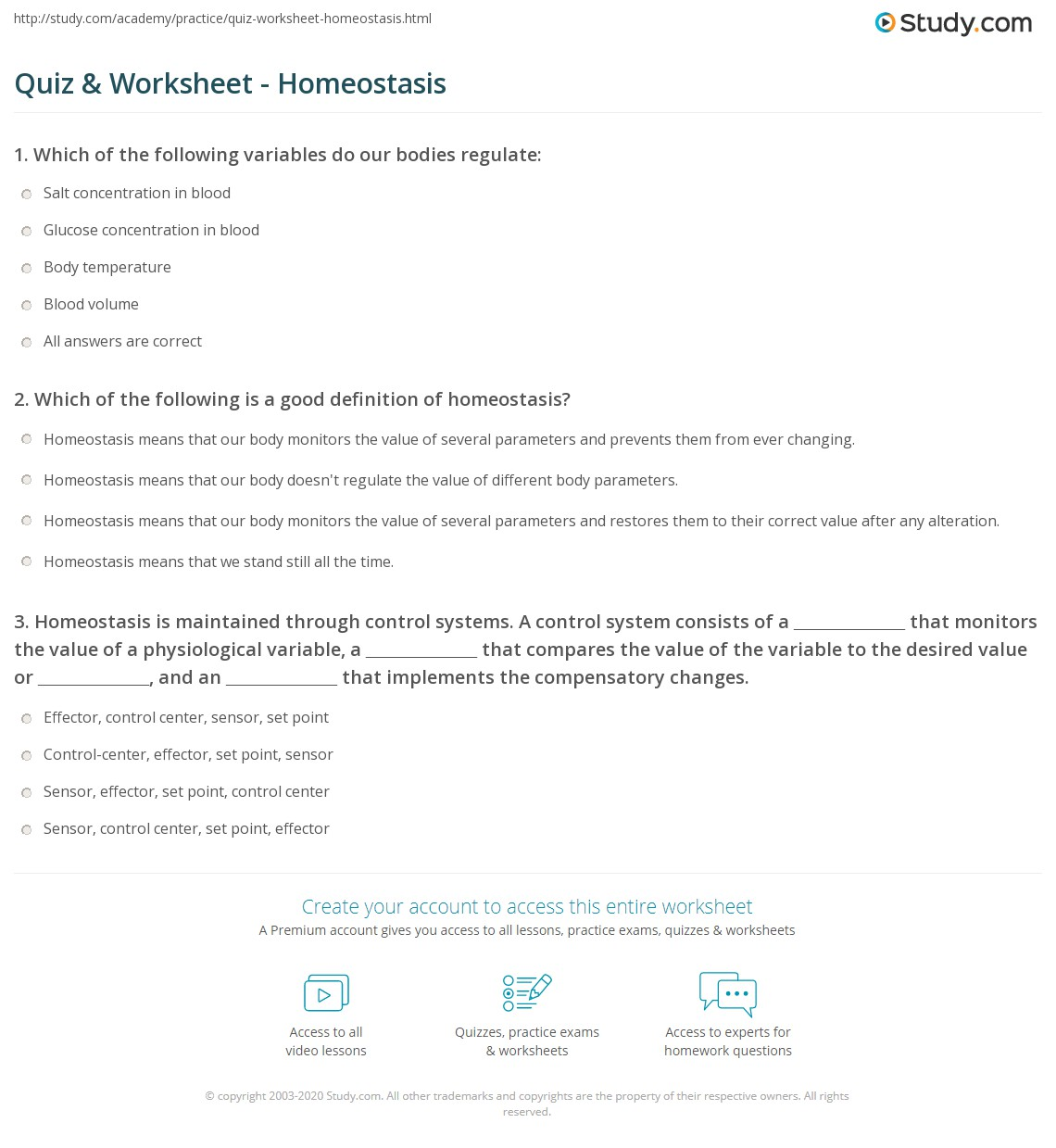 Quiz & Worksheet - Homeostasis | Study.com