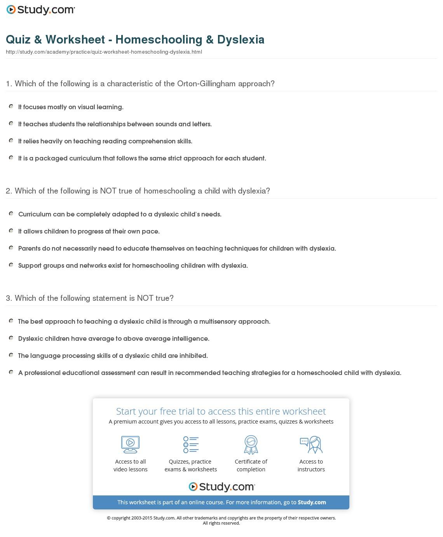 Quiz Worksheet Homeschooling Dyslexia Study