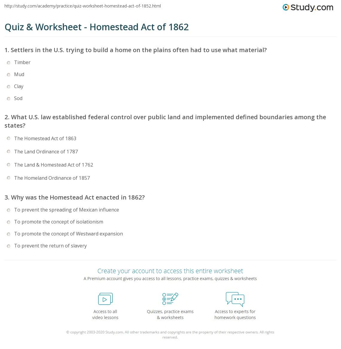 Quiz & Worksheet - Homestead Act of 1862 | Study com