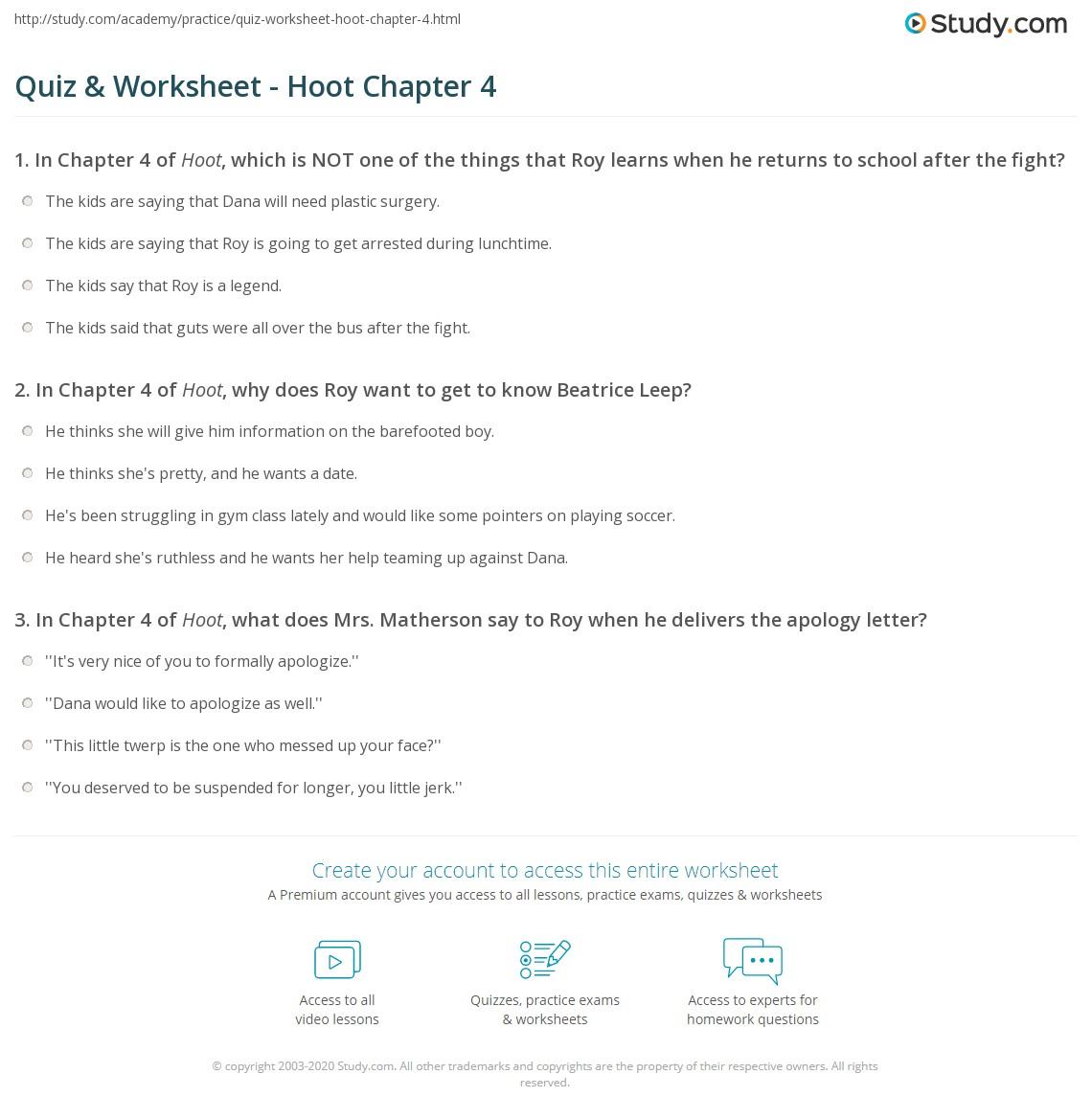 Quiz Worksheet Hoot Chapter 4 Studycom