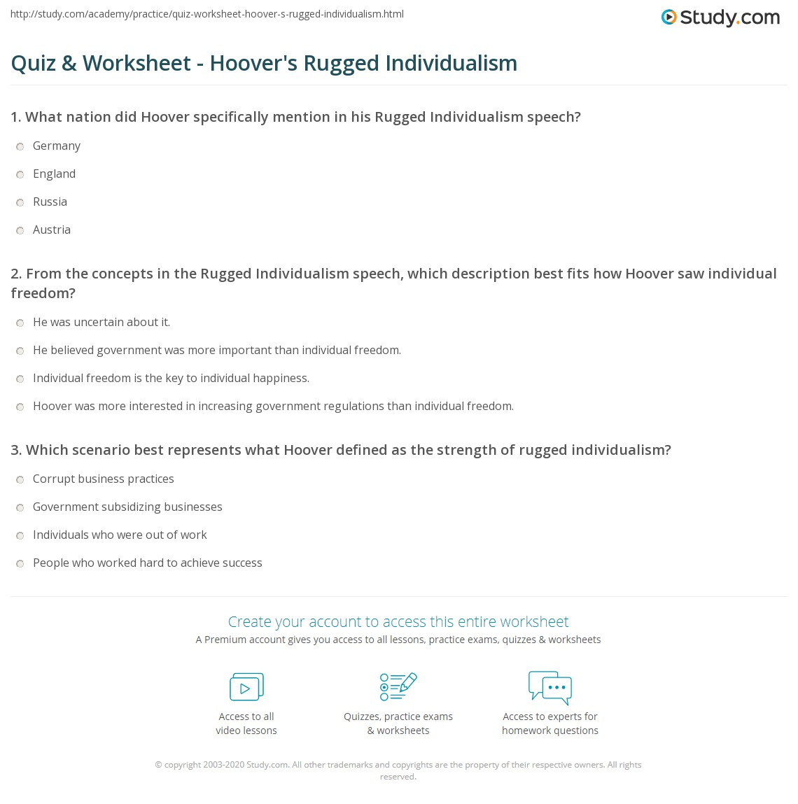 Print Rugged Individualism And Hoover Definition Sch Worksheet