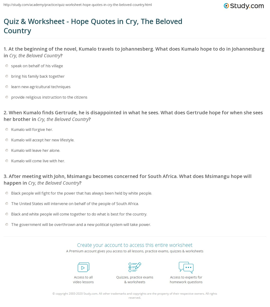 Hope Quotes Quiz & Worksheet  Hope Quotes In Cry The Beloved Country  Study