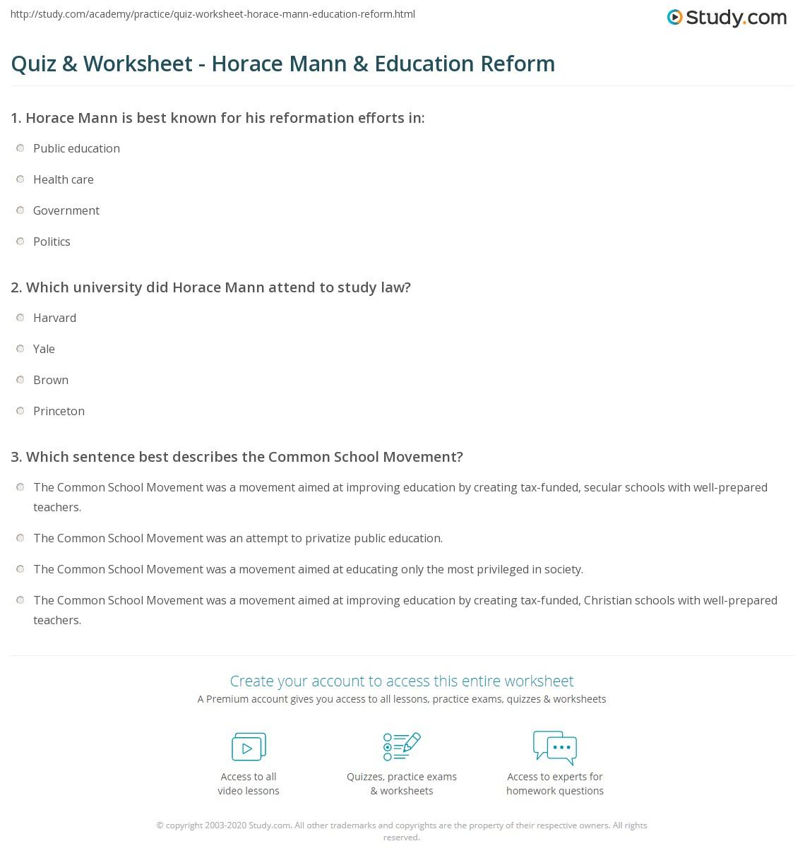 Quiz & Worksheet - Horace Mann & Education Reform | Study.com