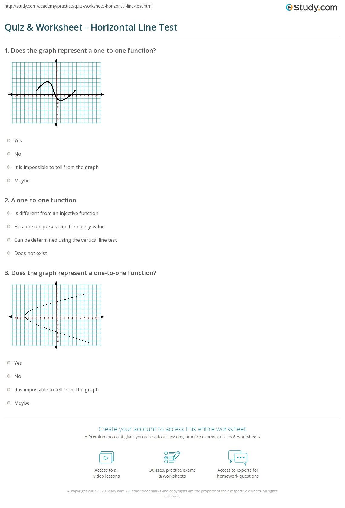 Quiz & Worksheet - Horizontal Line Test  Study.com Intended For Vertical Line Test Worksheet