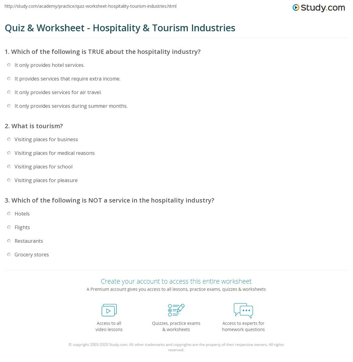 Quiz Worksheet Hospitality Tourism Industries Study Com