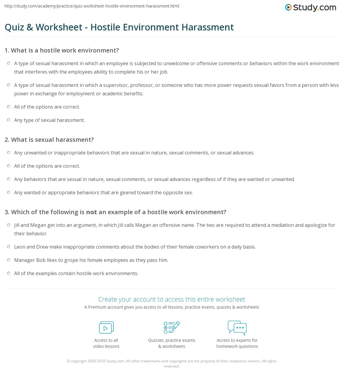 quiz & worksheet - hostile environment harassment | study