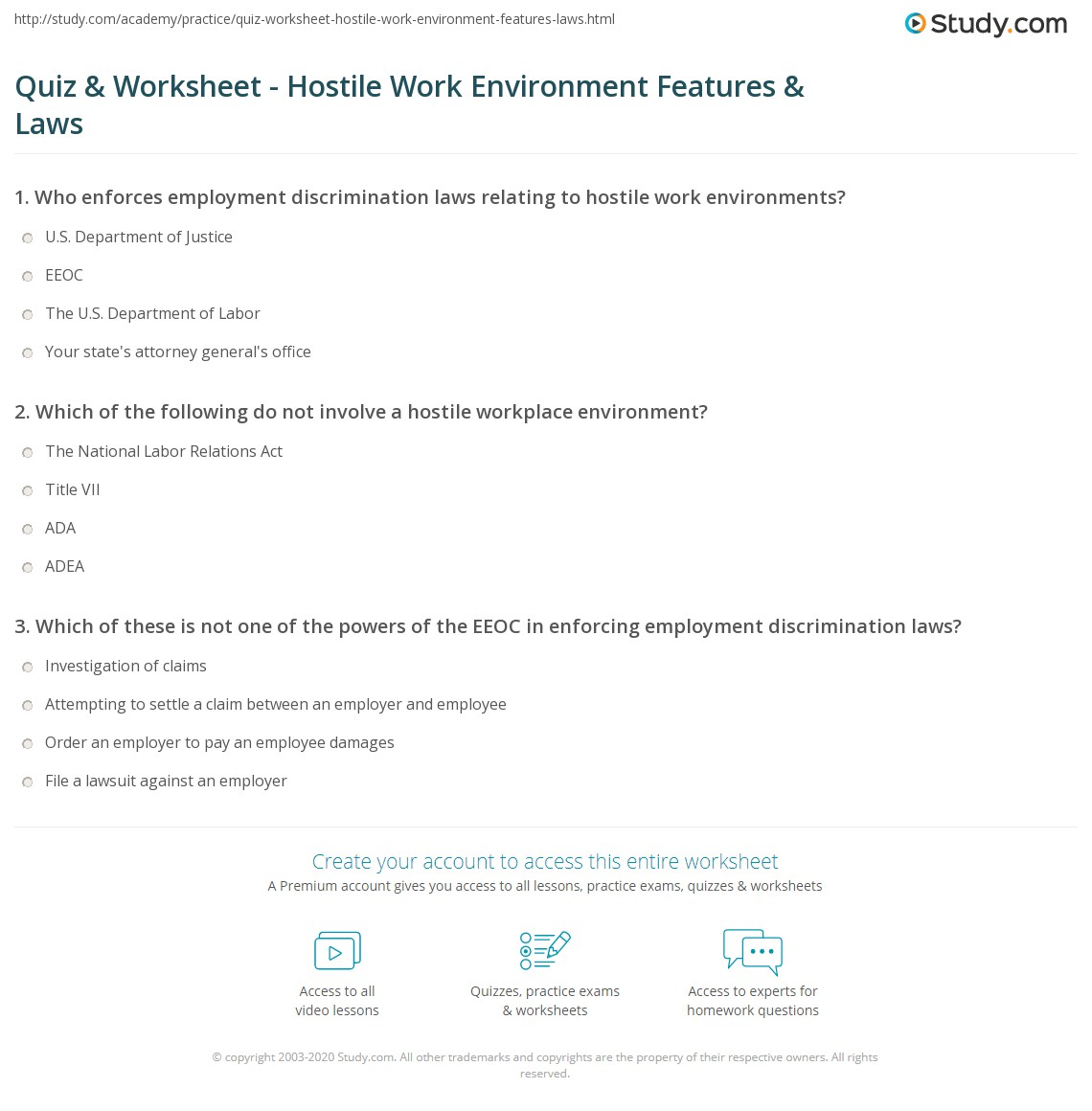 quiz & worksheet - hostile work environment features & laws | study
