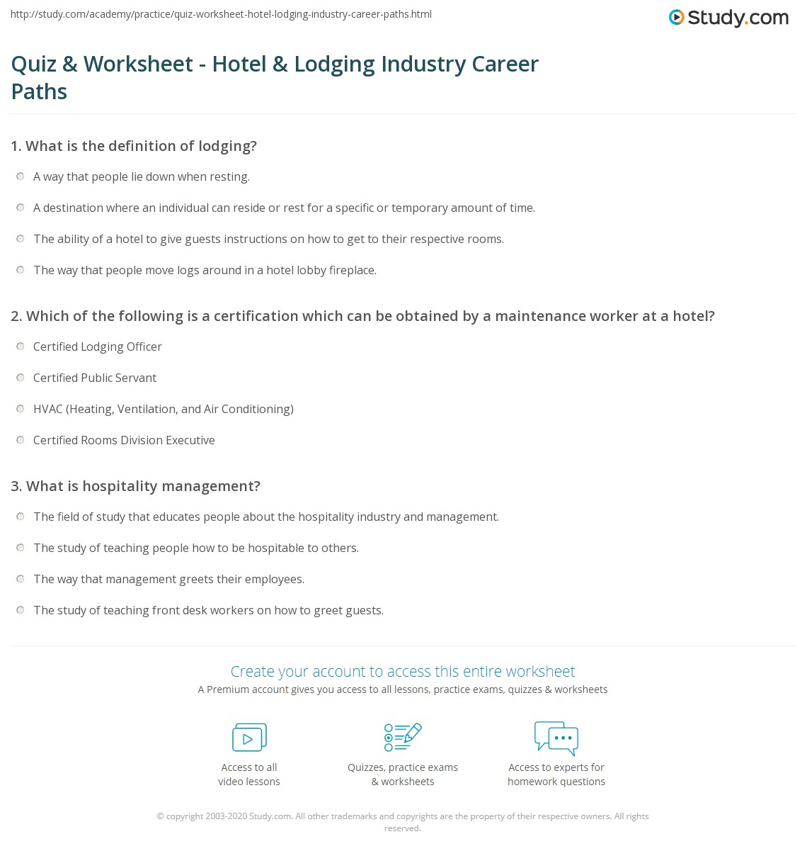 Quiz & Worksheet - Hotel & Lodging Industry Career Paths