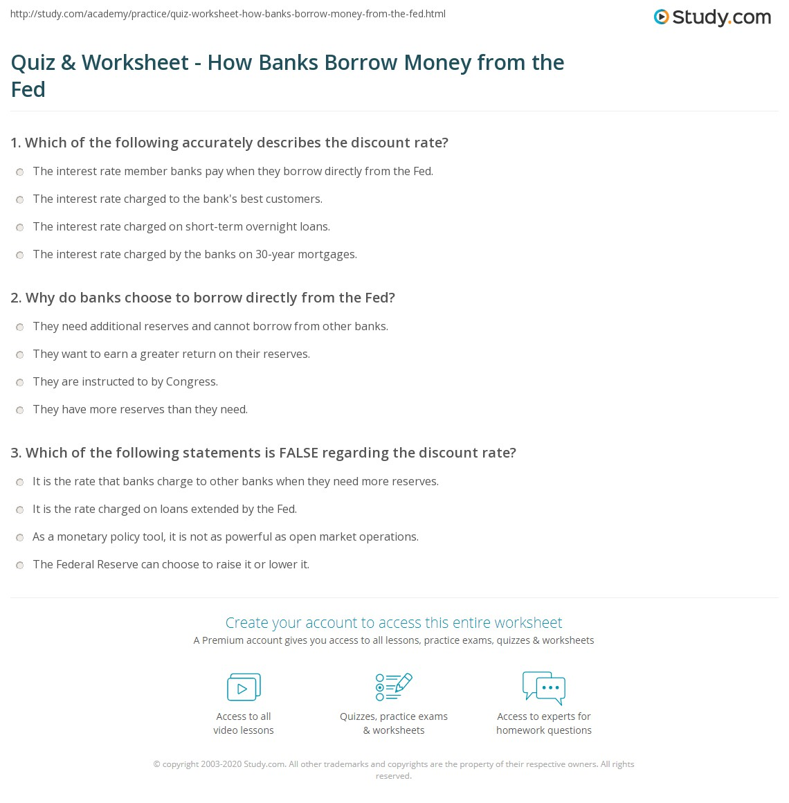 quiz worksheet how banks borrow money from the fed. Black Bedroom Furniture Sets. Home Design Ideas
