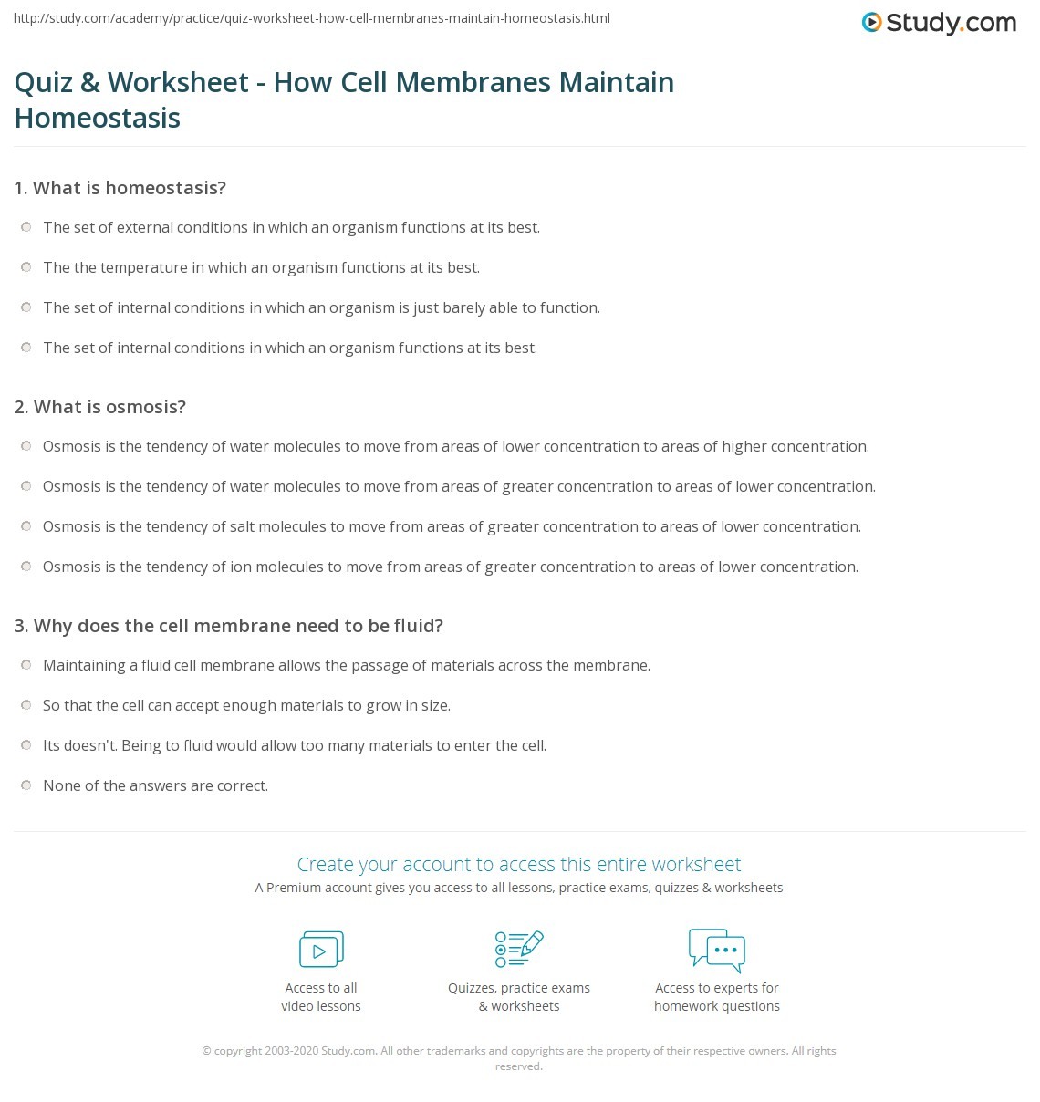 worksheet Homeostasis And Transport Worksheet quiz worksheet how cell membranes maintain homeostasis study com print does the membrane worksheet