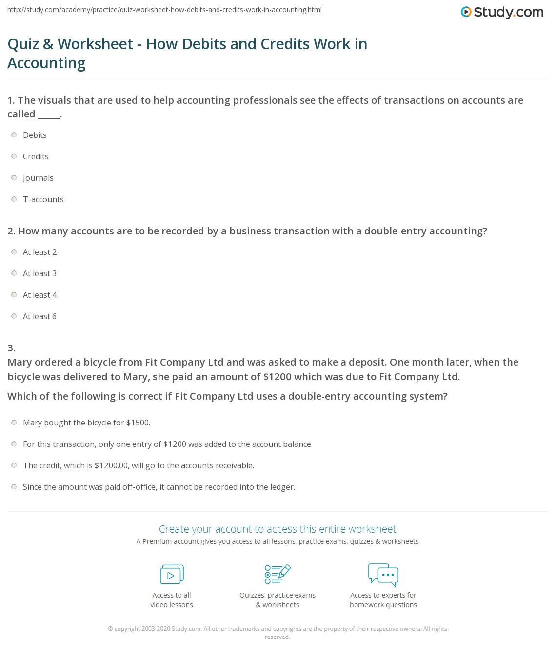 worksheet Accounting Worksheets quiz worksheet how debits and credits work in accounting print understanding worksheet
