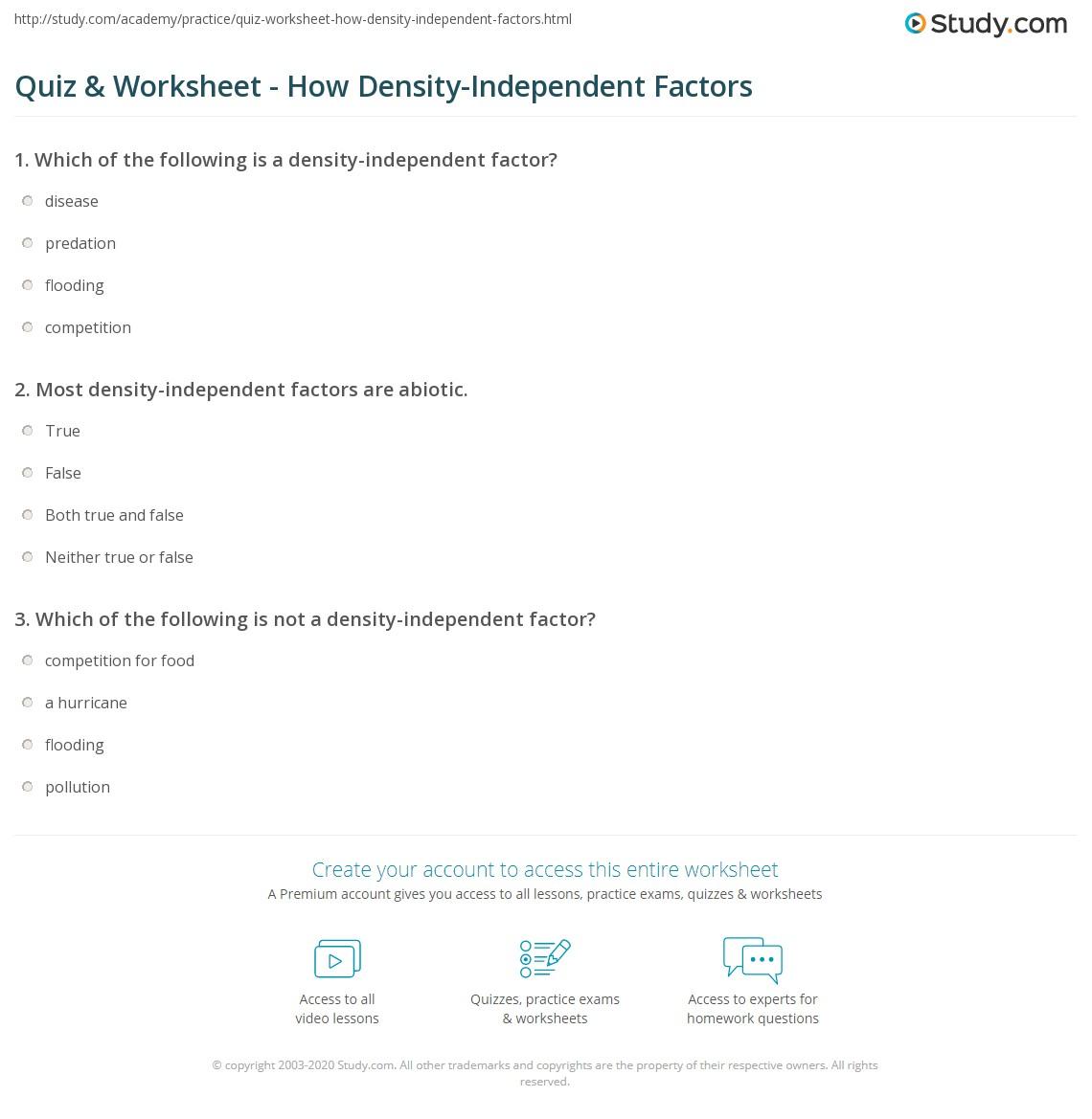 Quiz Worksheet How Density Independent Factors Study