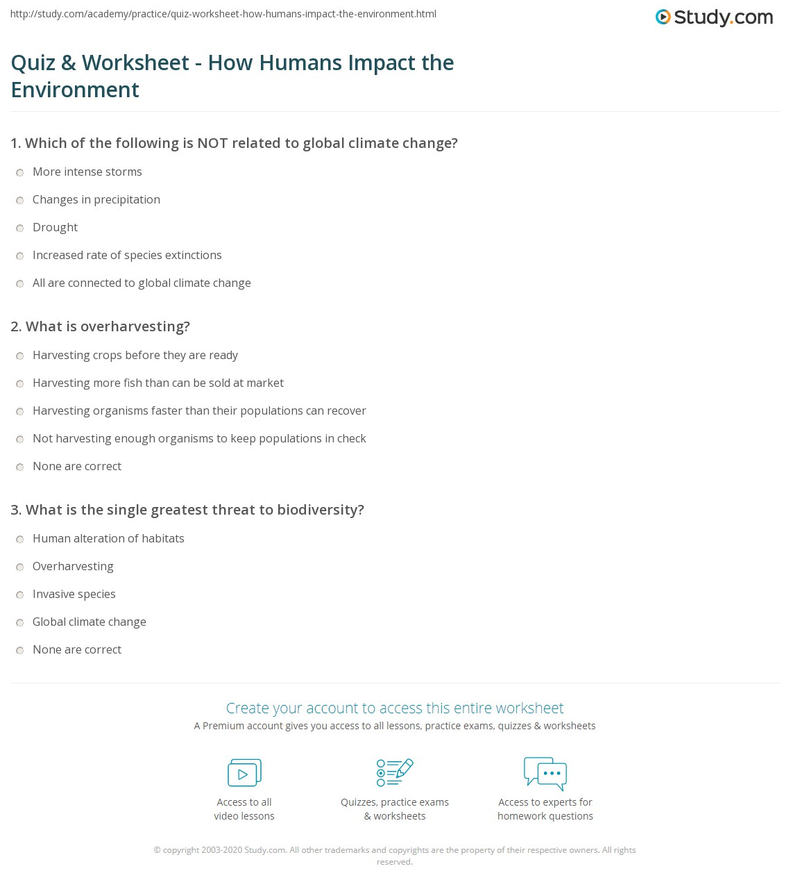 quiz worksheet how humans impact the environment. Black Bedroom Furniture Sets. Home Design Ideas