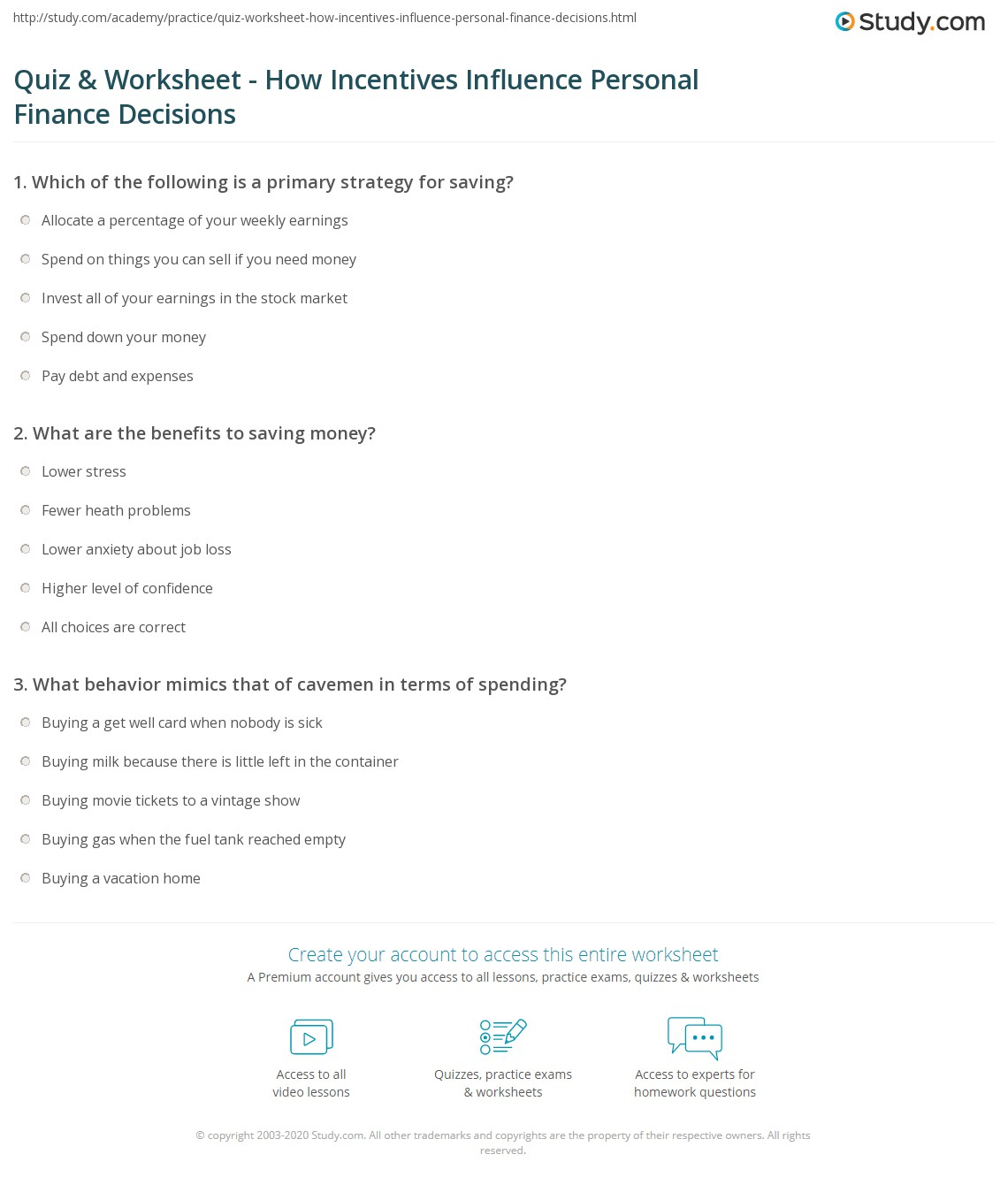 Printables Personal Finance Worksheets quiz worksheet how incentives influence personal finance print impact of on financial decisions worksheet