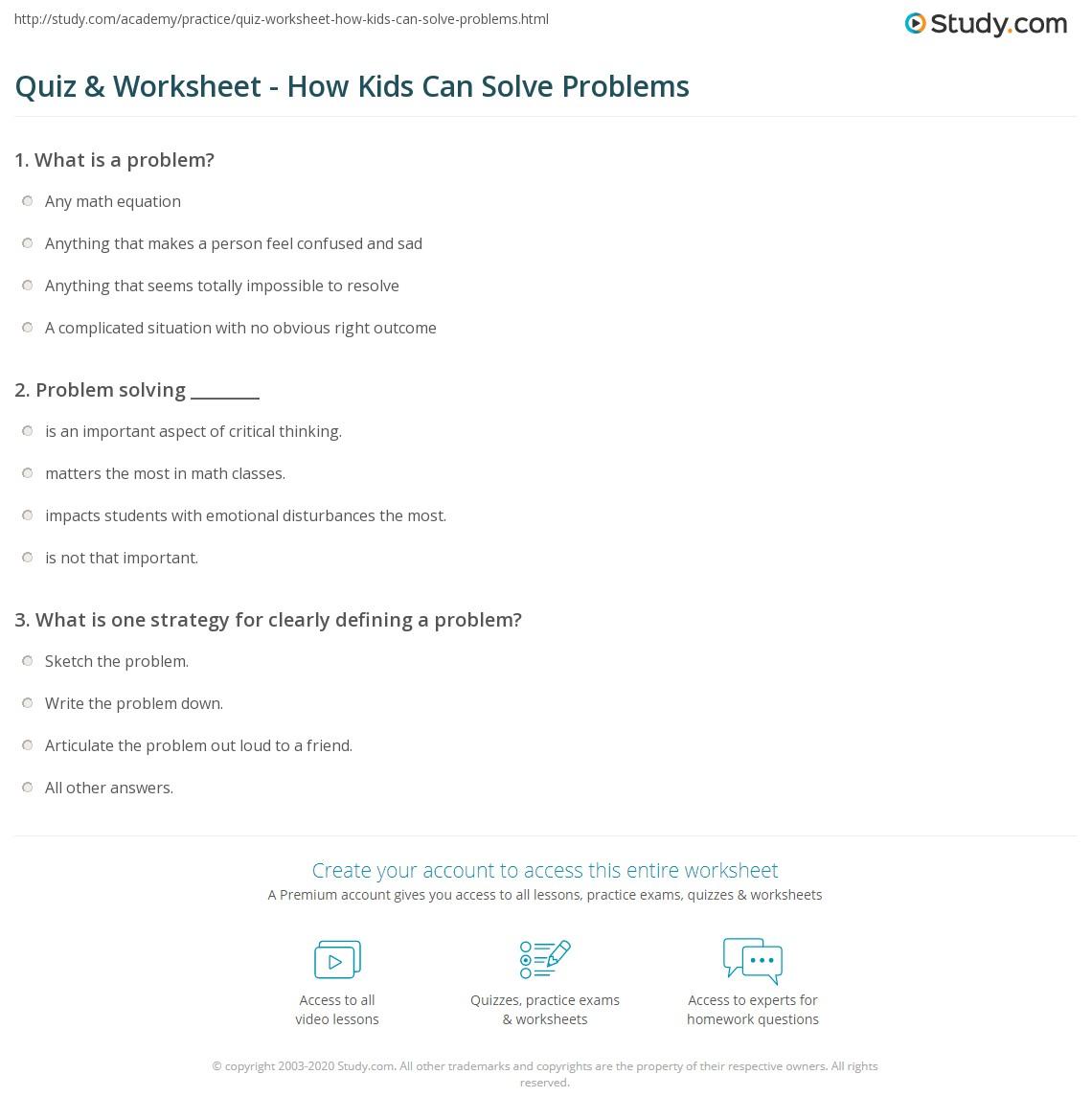 Worksheets Problem Solving Worksheets For Kids quiz worksheet how kids can solve problems study com print problem solving skills for worksheet