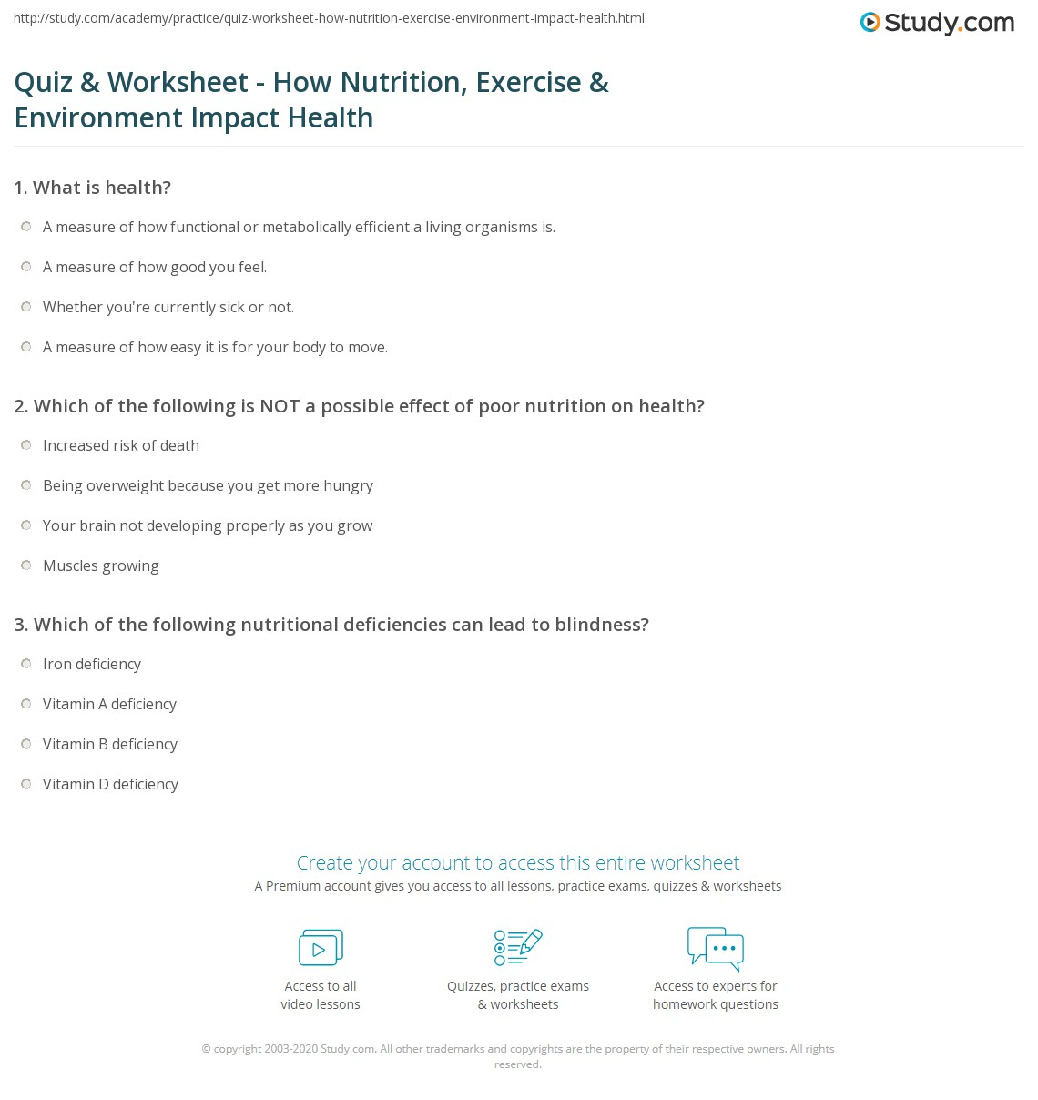 Quiz & Worksheet - How Nutrition, Exercise & Environment Impact ...