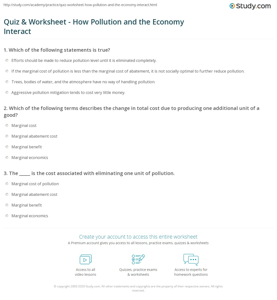worksheet Pollution Worksheets quiz worksheet how pollution and the economy interact study com print economics of marginal cost optimum amount worksheet
