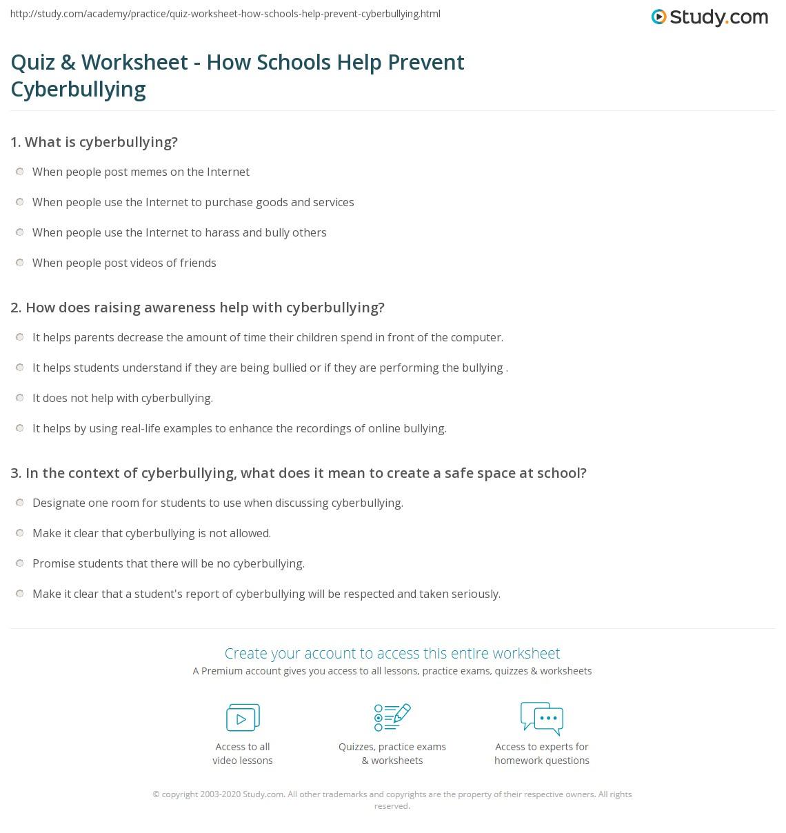Quiz Worksheet How Schools Help Prevent Cyberbullying Studycom