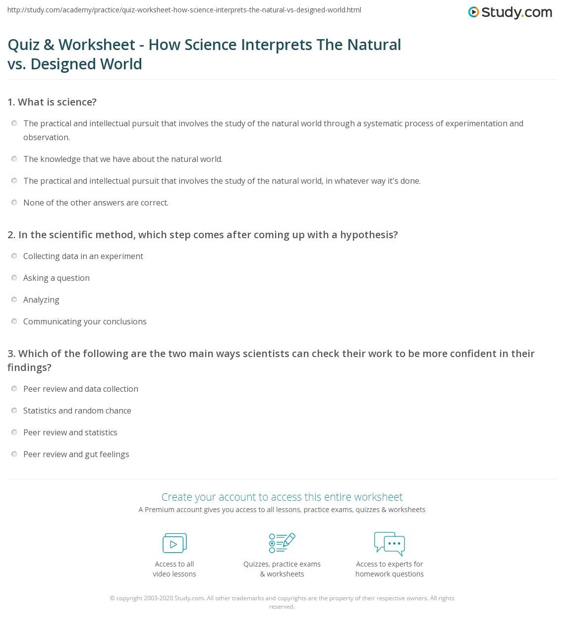 Print How Science Makes Sense Of The Natural Designed World Worksheet