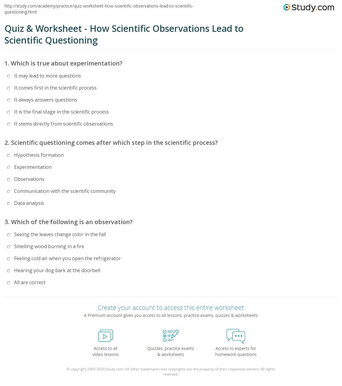 Worksheets Science Observation Worksheet quiz worksheet how scientific observations lead to print questioning worksheet