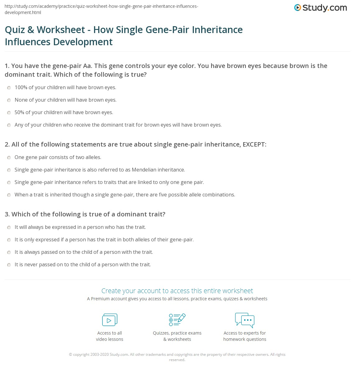 quiz worksheet how single gene pair inheritance influences development. Black Bedroom Furniture Sets. Home Design Ideas