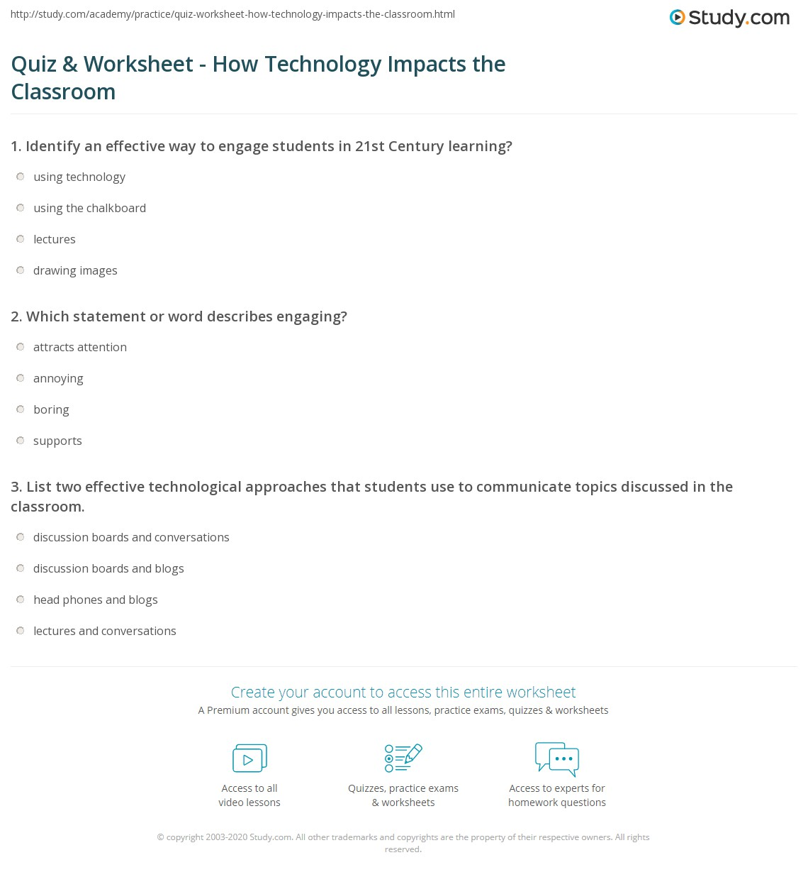 Quiz & Worksheet - How Technology Impacts the Classroom