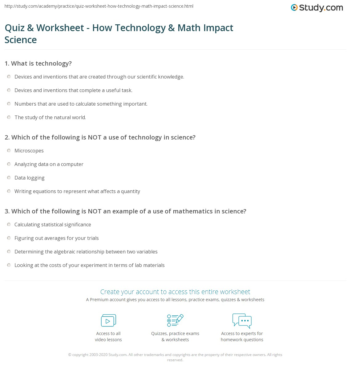 Quiz & Worksheet - How Technology & Math Impact Science