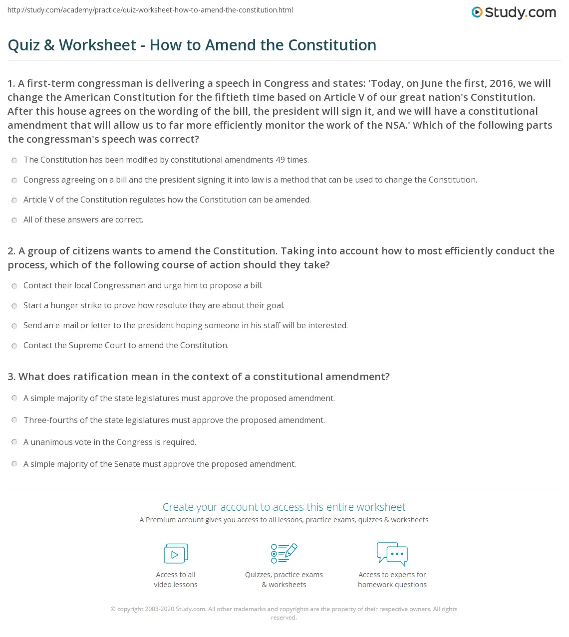 {Quiz Worksheet How to Amend the Constitution – Amending the Constitution Worksheet