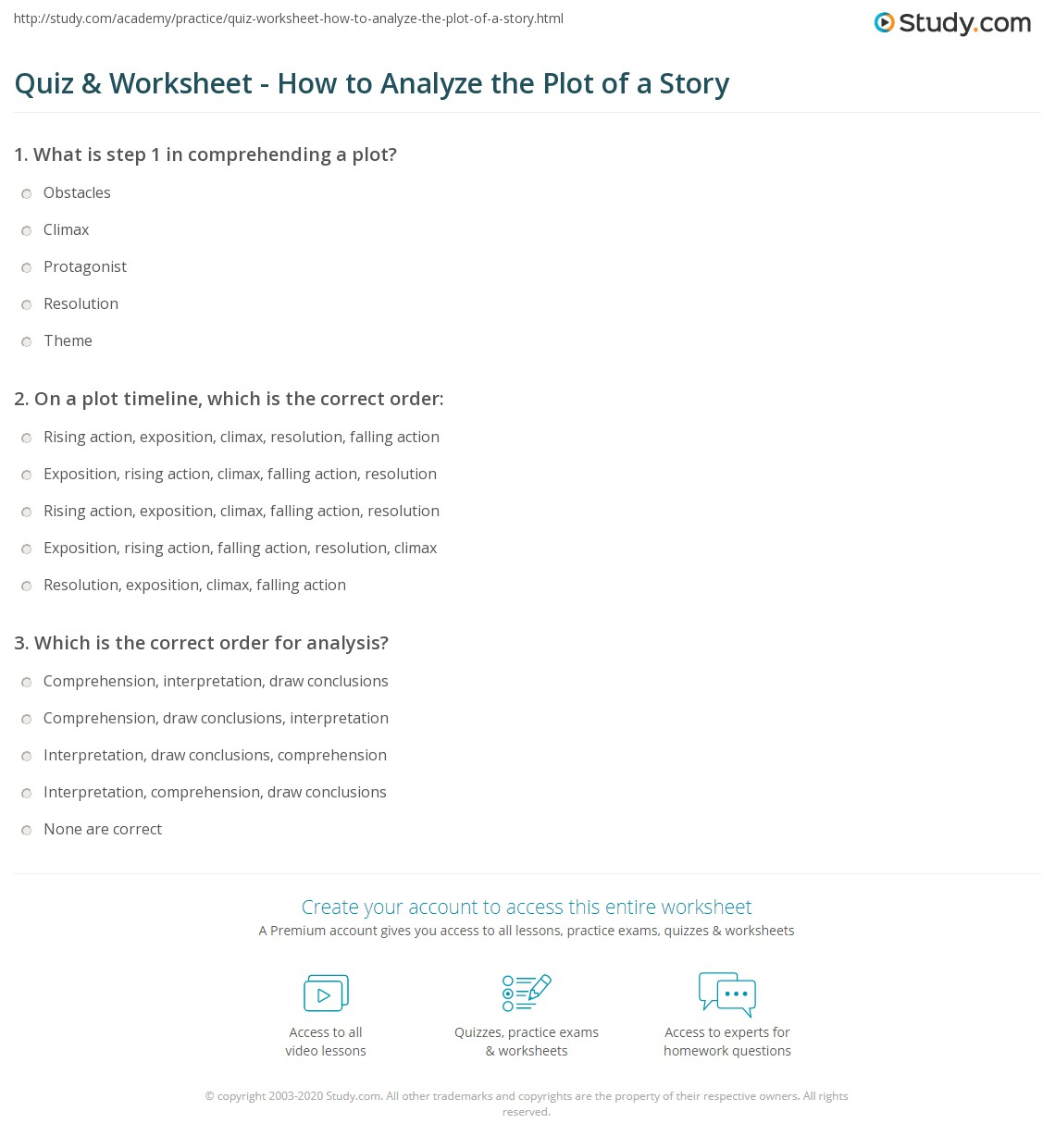 Quiz & Worksheet - How to Analyze the Plot of a Story | Study.com