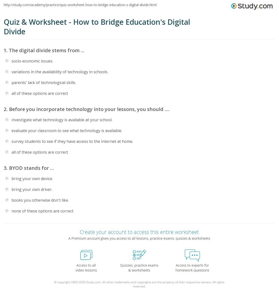 Worksheets Driver Education Worksheets quiz worksheet how to bridge educations digital divide study com print bridging the in education worksheet