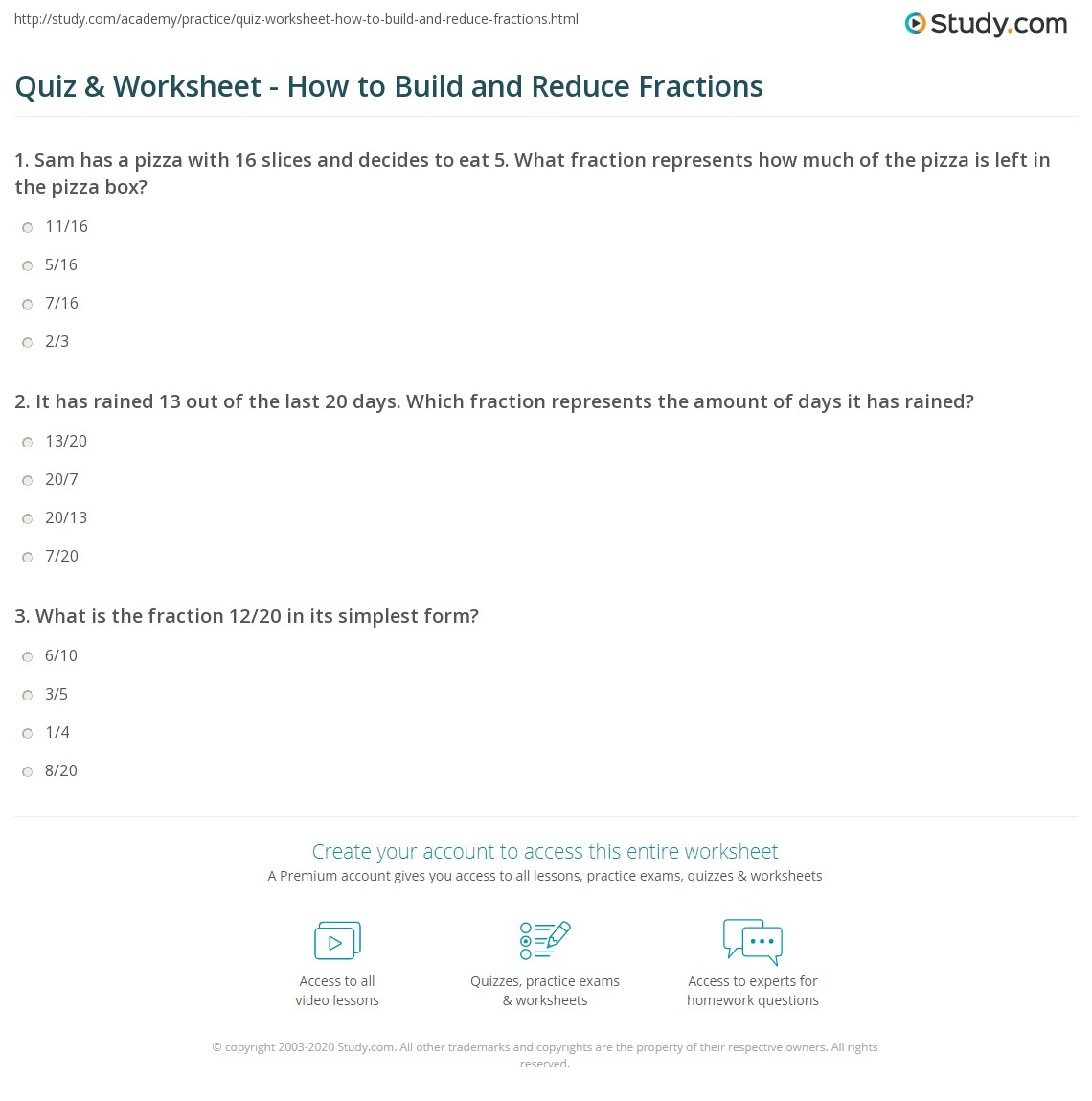 quiz worksheet how to build and reduce fractions. Black Bedroom Furniture Sets. Home Design Ideas