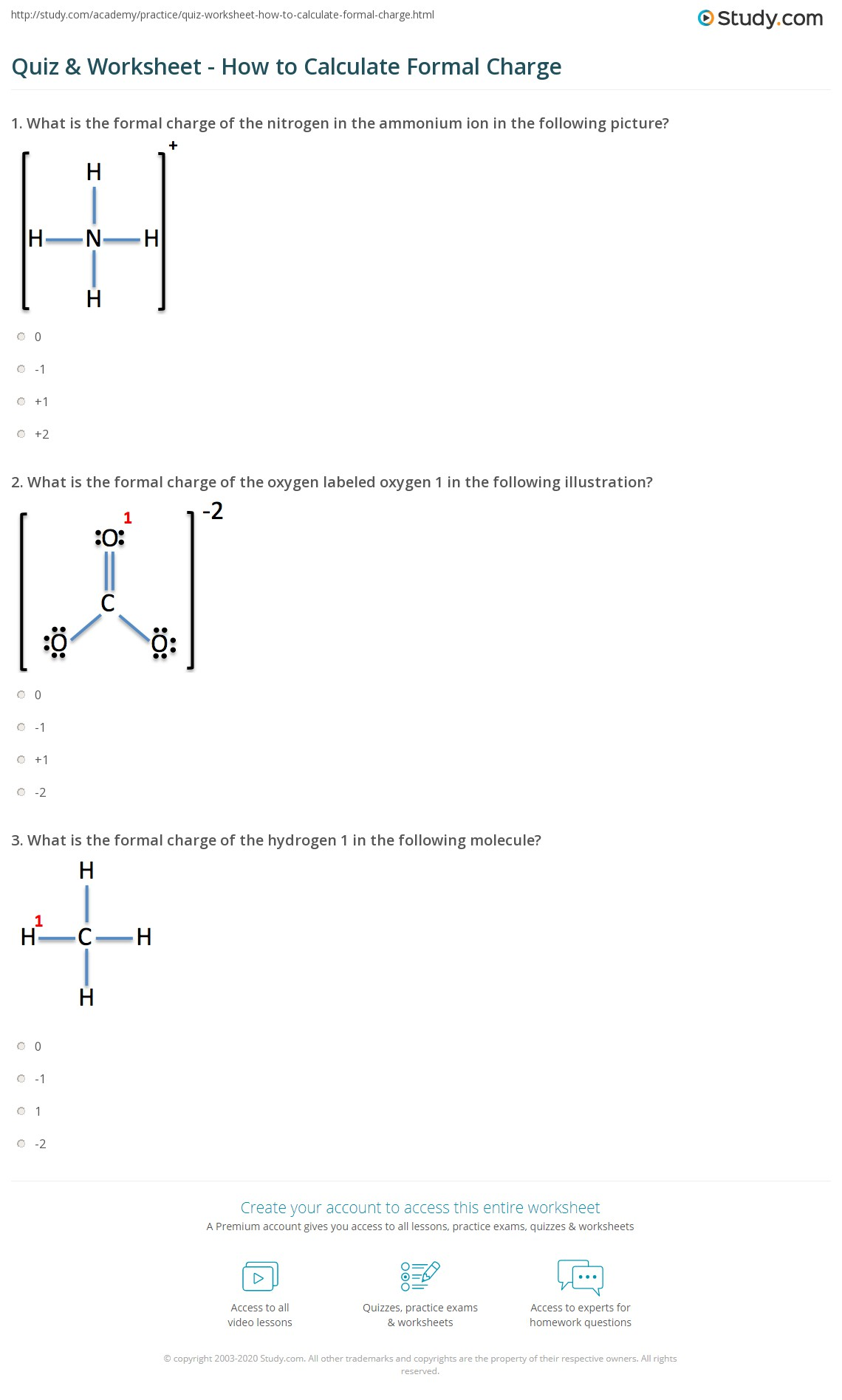 quiz worksheet how to calculate formal charge. Black Bedroom Furniture Sets. Home Design Ideas