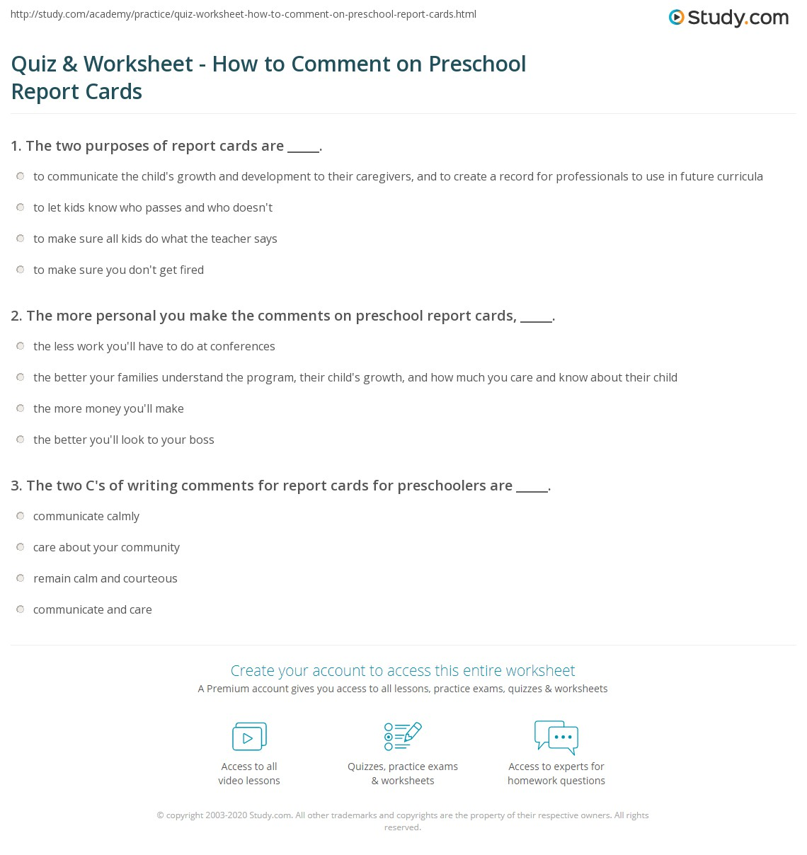 Workbooks impulsivity worksheets : Quiz & Worksheet - How to Comment on Preschool Report Cards ...