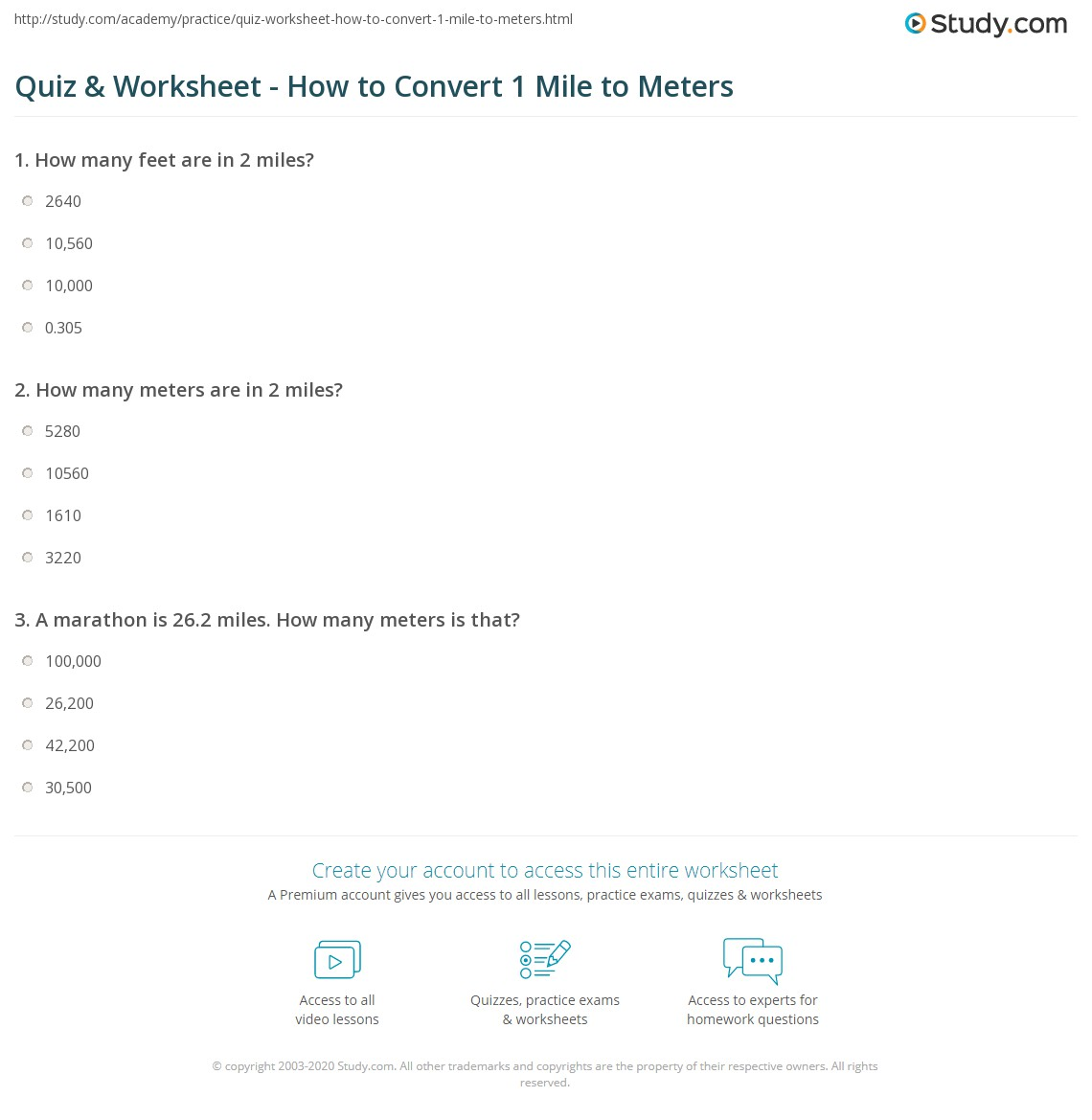 quiz & worksheet - how to convert 1 mile to meters | study