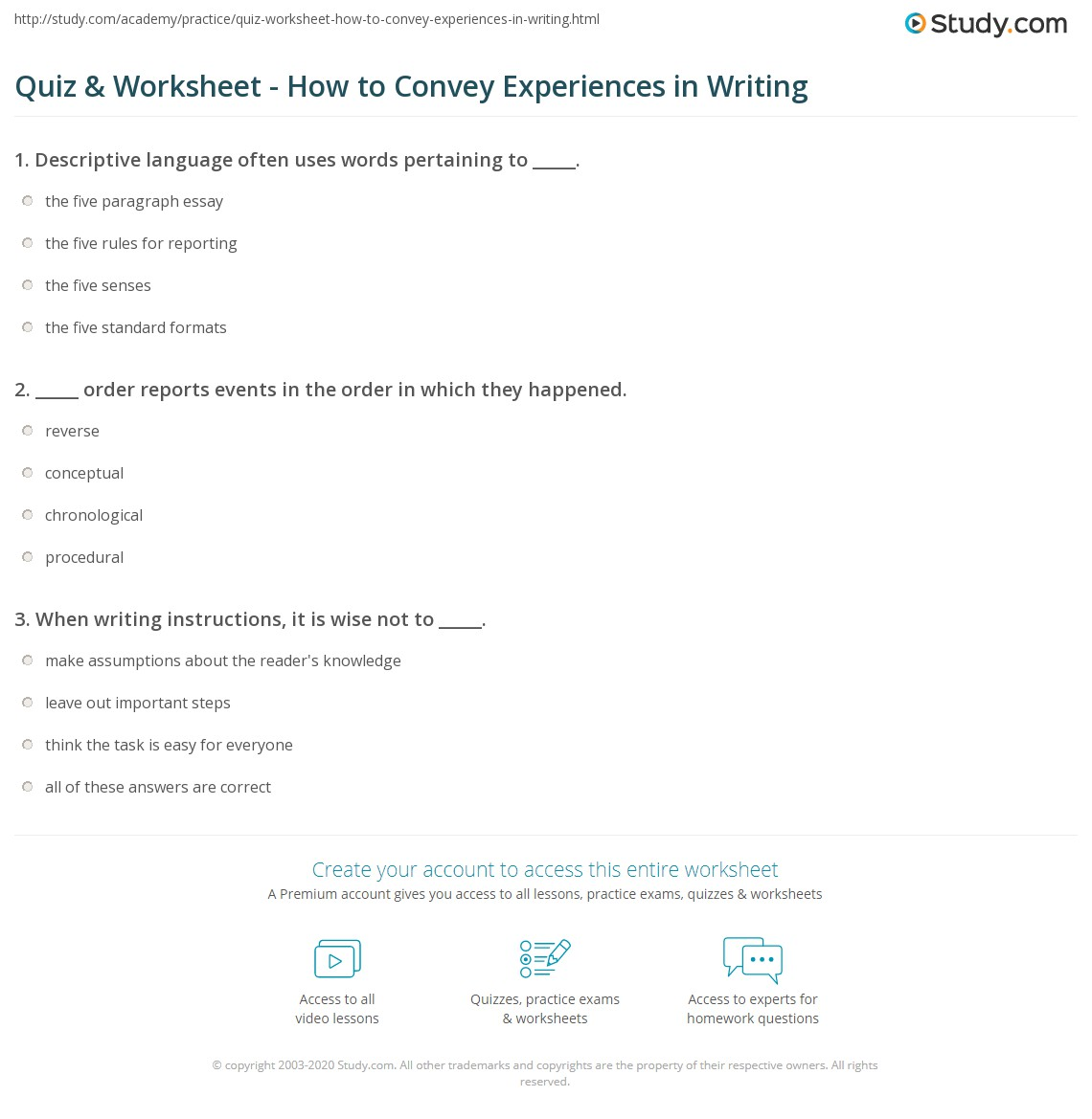 quiz worksheet how to convey experiences in writing. Black Bedroom Furniture Sets. Home Design Ideas