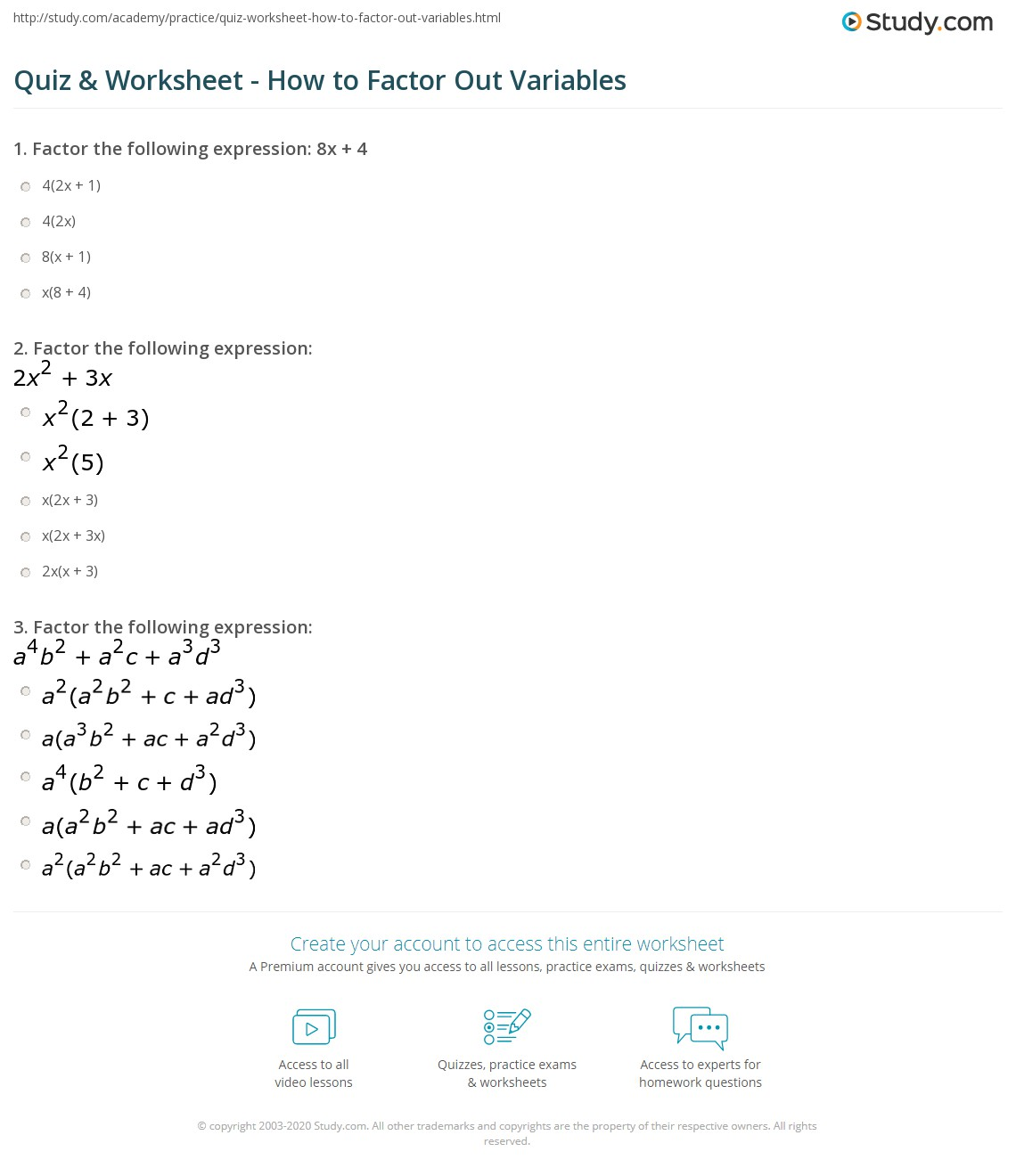Quiz Worksheet How To Factor Out Variables Study