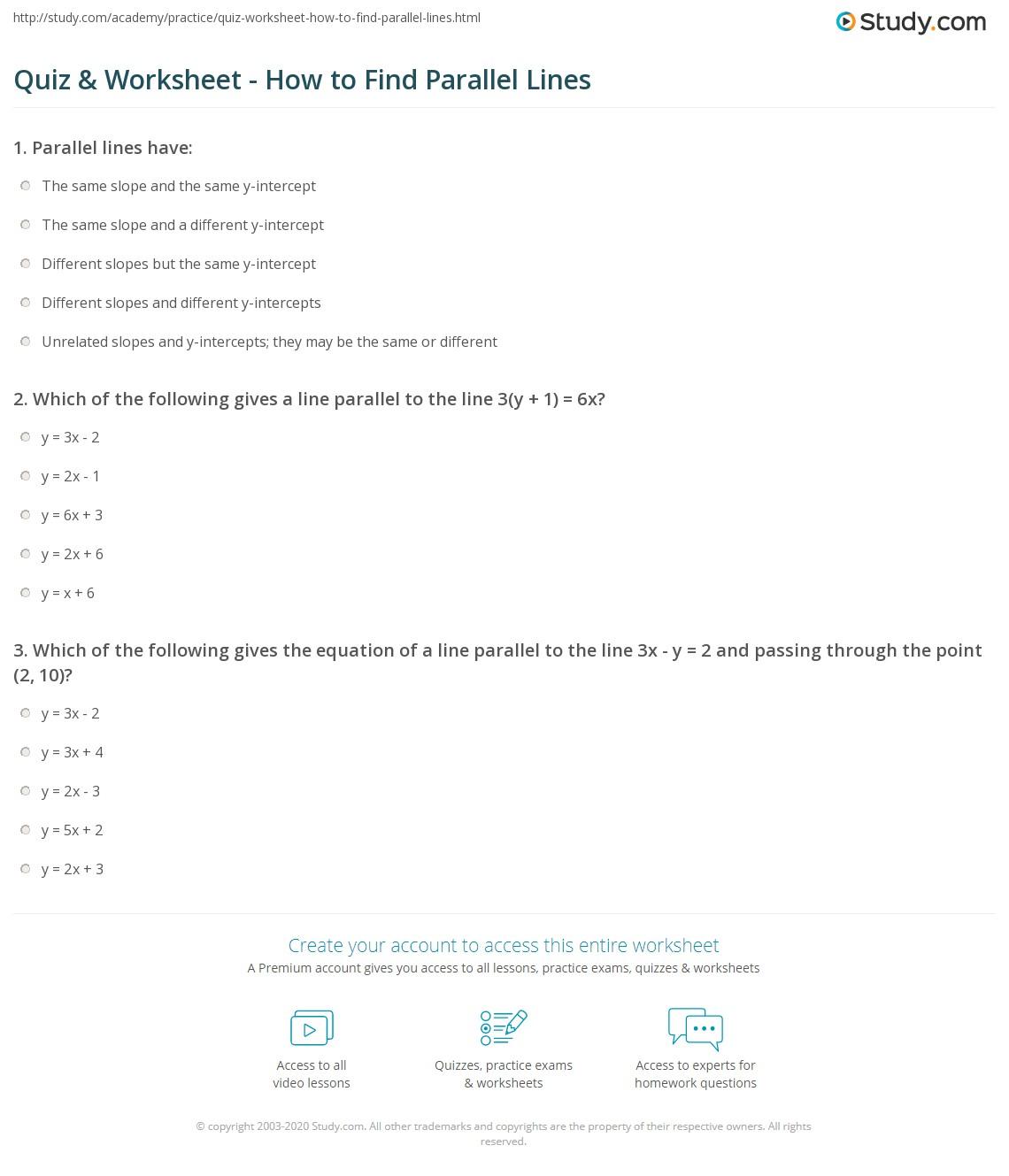 worksheet Parallel Line Worksheets quiz worksheet how to find parallel lines study com print finding worksheet