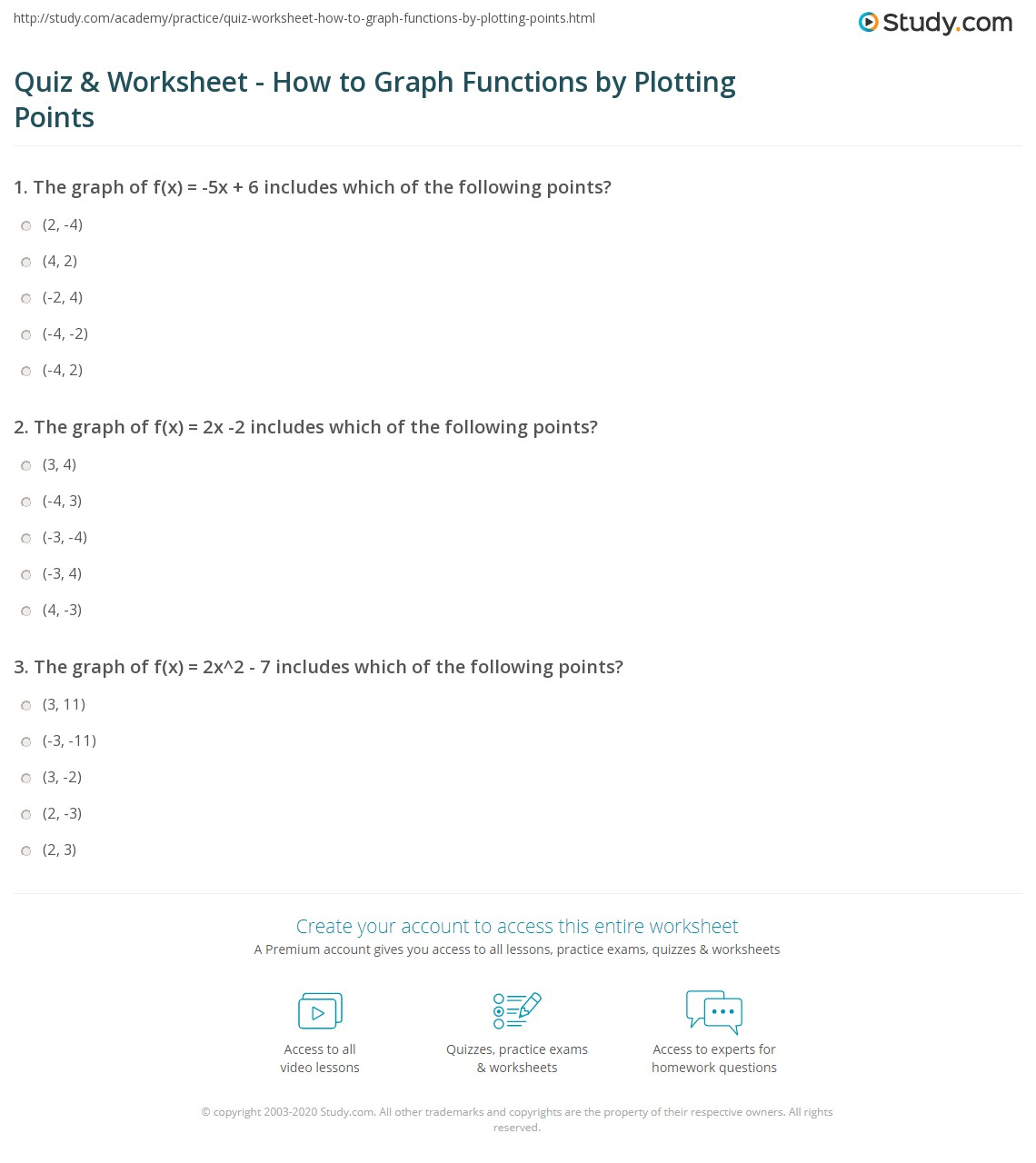worksheet Plotting Points On A Graph Worksheet quiz worksheet how to graph functions by plotting points study com print worksheet