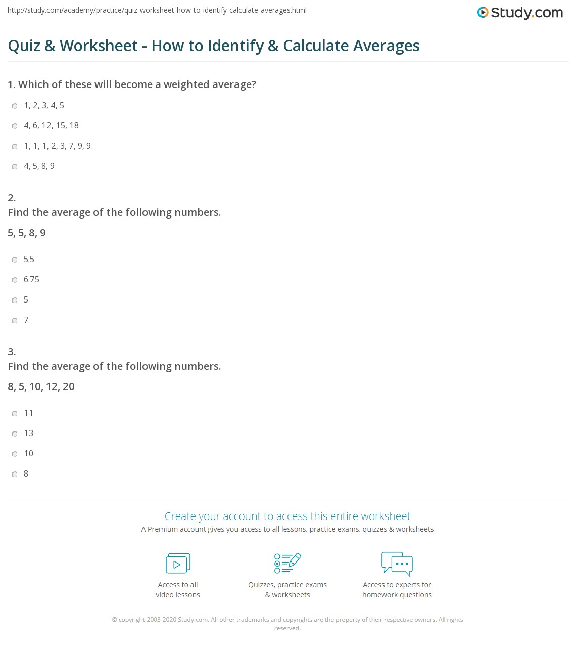 Quiz & Worksheet - How to Identify & Calculate Averages | Study.com
