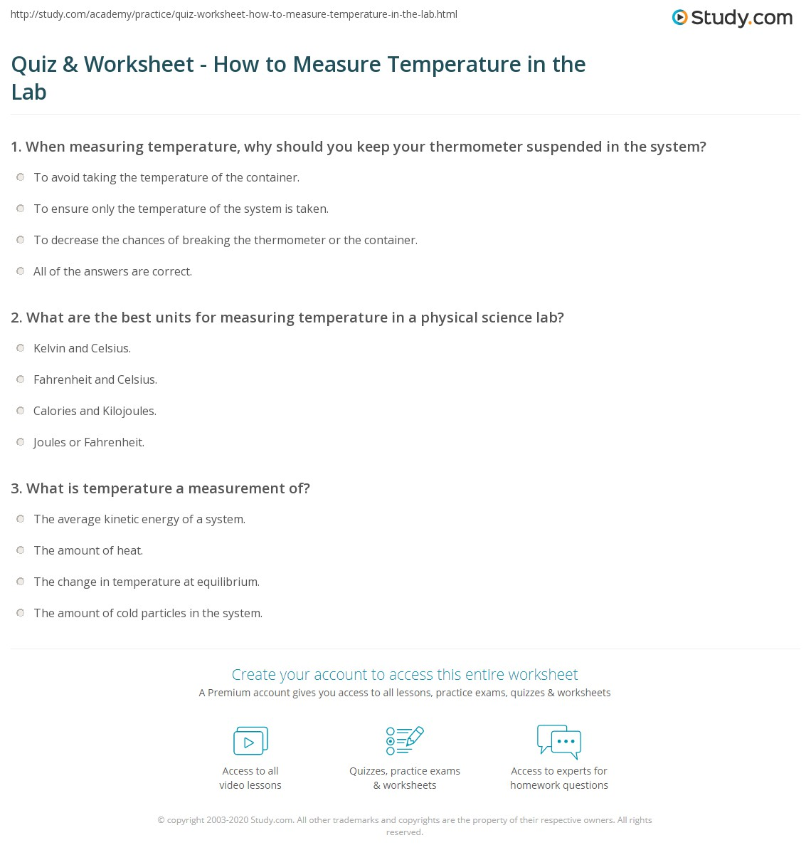 quiz worksheet how to measure temperature in the lab. Black Bedroom Furniture Sets. Home Design Ideas