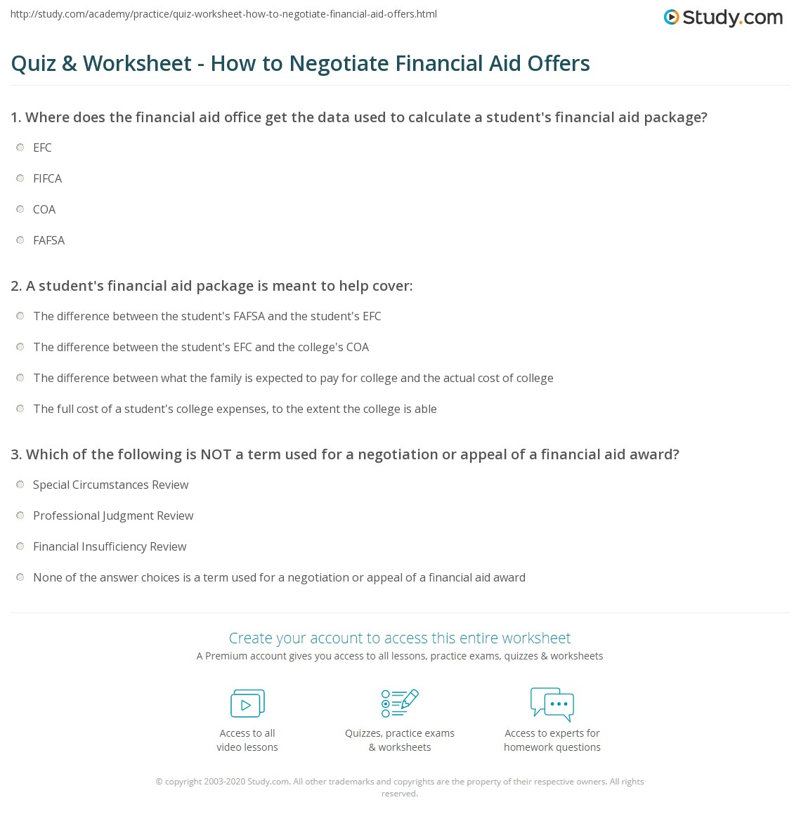 Quiz worksheet how to negotiate financial aid offers study print negotiating appealing financial aid offers worksheet ibookread Read Online