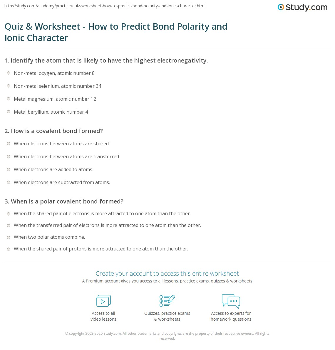 Quiz Worksheet How to Predict Bond Polarity and Ionic – Getting into Shapes Worksheet Answers