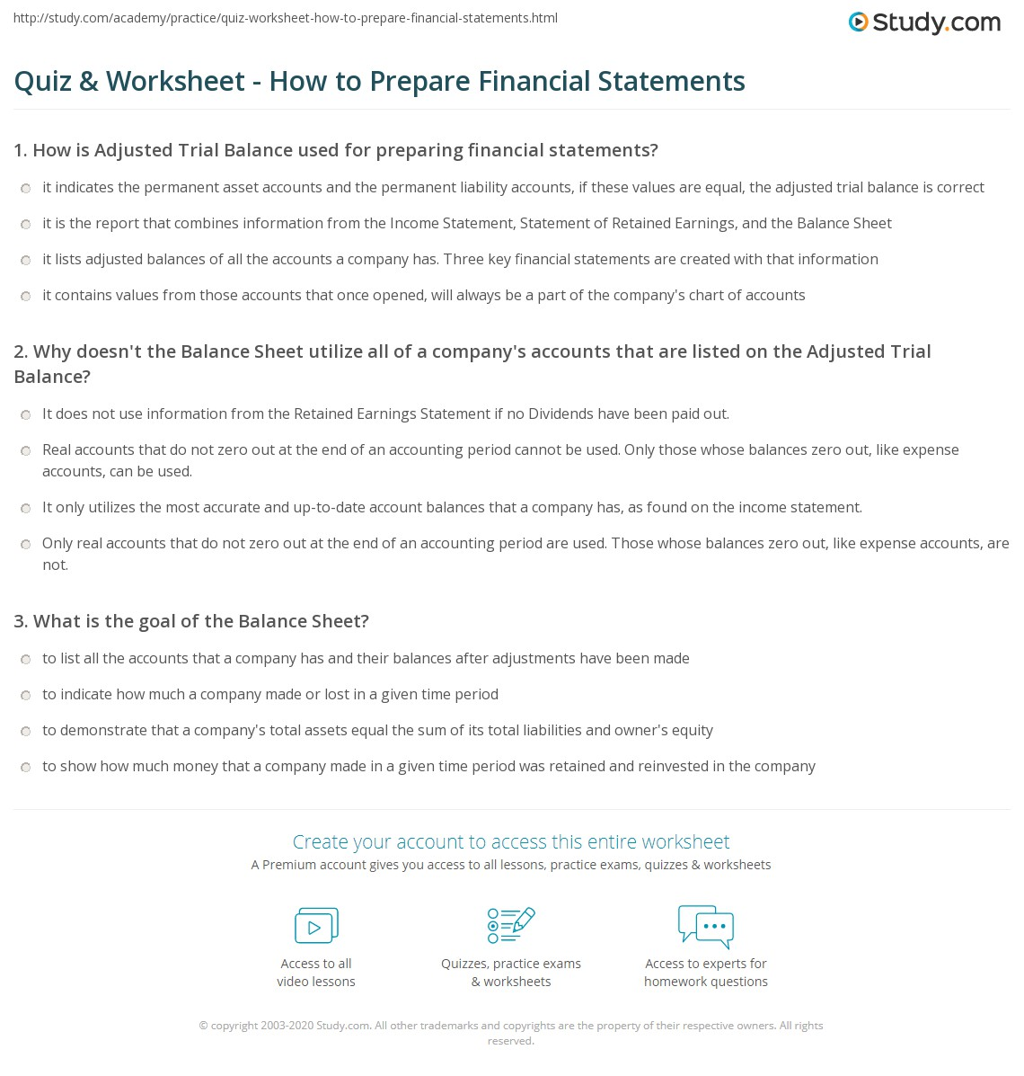 Quiz & Worksheet - How to Prepare Financial Statements ...