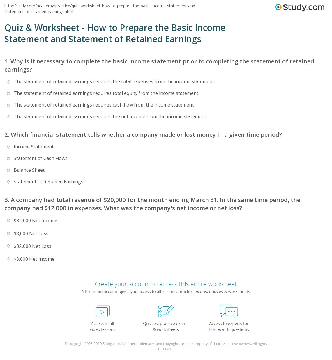 How To Prepare Profit And Loss Statement Quiz & Worksheet  How To Prepare The Basic Income Statement And .